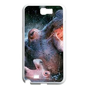 S-ADFG Diy Phone Case Hippo Pattern Hard Case For Samsung Galaxy Note 2 N7100