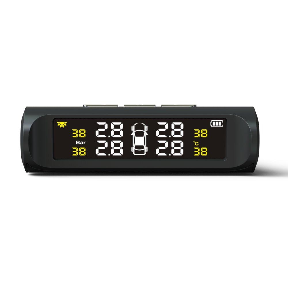 Funzione di Allarme Automatico e 4 Sensori Esterni Pressione e Temperature TUTUO TPMS Sistema Monitor Pressione Pneumatico da Auto Senza Fili Energia Solare con Display LCD Tempo Reale