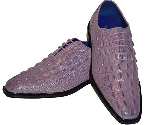Roberto Chillini 6387 Mens Lilac Lavender Ultra Gator Embossed Dress Shoes (Lavender Dress Shoes)