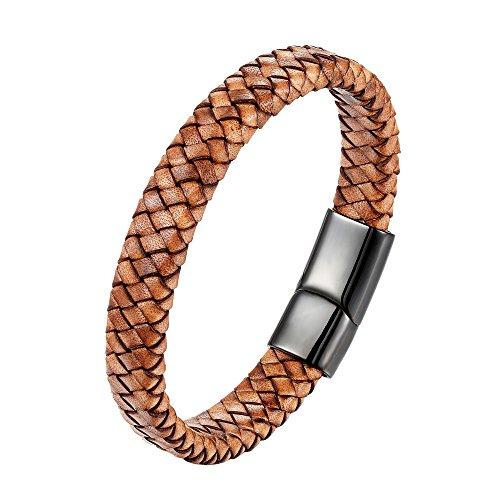 CHOMAY Braided Genuine Leather Bracelet Stainless Steel Clasp Bangle Wrist Cuff Gift Box 215mm
