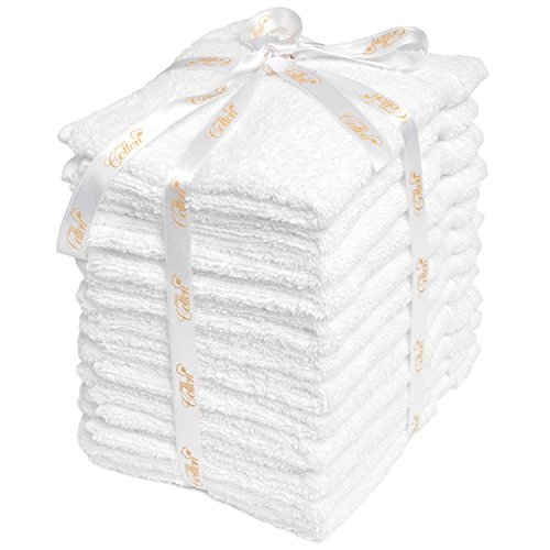 12 Pack Washcloth Set White Cotton Wash Cloths For Kitchen Baby Hand Face | Makeup Multi-Purpose Oversized Luxury Highly Absorbent Extra Soft Premium Turkish Cotton 13X13 Inch, by Class Cotton