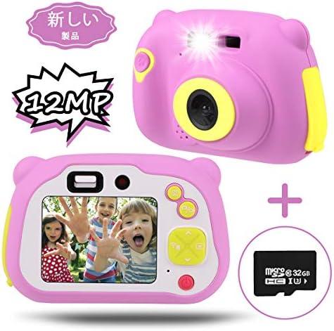 [해외]Hootracker 【 진화 판 】 토이 카메라 전후 1200만 픽셀 HD1080P 동영상 녹화 아이 카메라 WiFi 공유 미니 토이 카메라 32GB SD 카드 키즈 카메라 일본어 설명서 핑크 / Hootracker [Evolution Versio