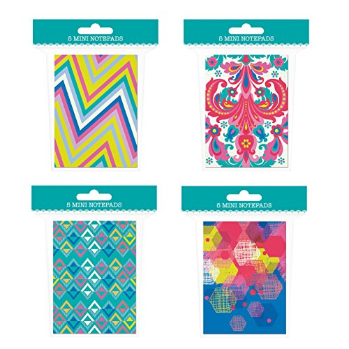 "Mini Notepad Set - 20 Notebooks Total! 4 Different Designs - 4"" x 2.75"" Pocket Notebooks - Lined Pages"