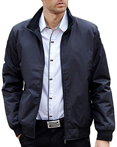 Antivento Impermeabile Rivestimento Casuale Peso Leggero Il Uomo Zipper Nero Cappotto Bombardiere Collare Mochoose Sottile Del Cappotti aPzvT