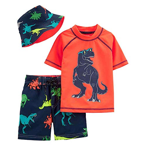 Carter's 3 Piece Little Boys Swim Trunk, Rash Guard, Hat (Orange/Navy Dino, 4T) ()