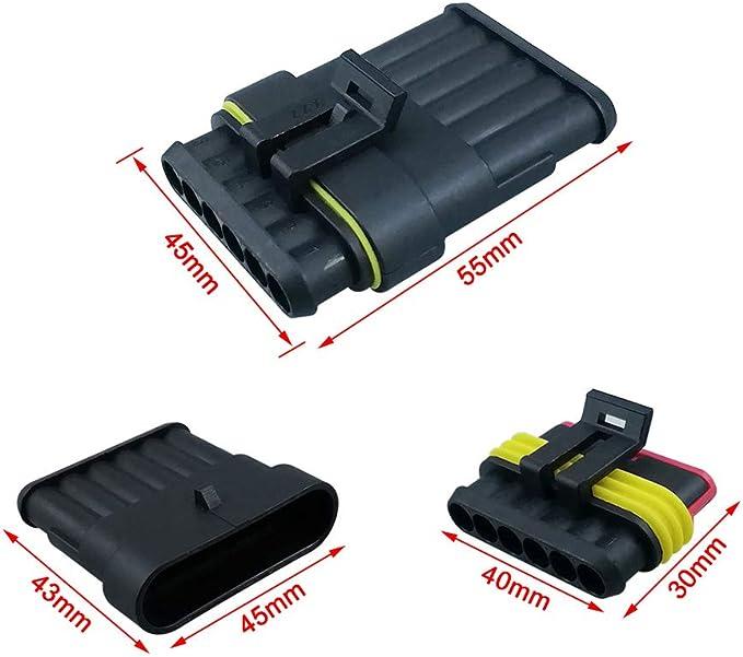 2 Pin /& 3 Pin /& 4 Pin PA66 Nylon Impermeabile Connettore Isolato e Sigillato FULARR/® 10 Kit Professionale Auto Impermeabile Elettrico Connettore Spina con Filo per Auto Camion Marina Moto