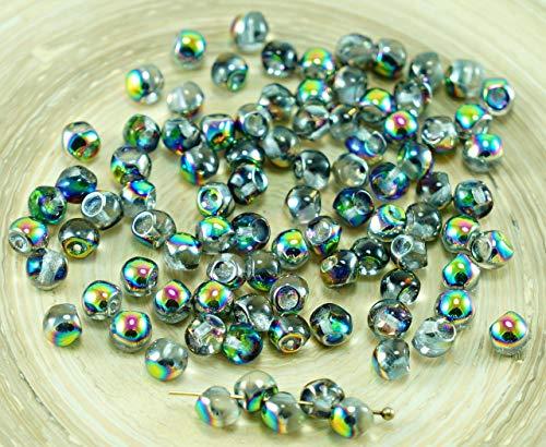 (NEW SHAPE Crystal Vitrail Green Pink Half Extra Small Mushroom Button Czech Glass Beads 4mm x 3mm 60pcs)