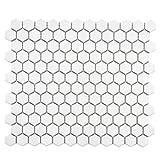 Retro Hexagon White 10 7/8 x 12 Inch Porcelain Floor & Wall Tile (10 Pcs/9.1 Sq. Ft. Per Case, $1 Standard Shipping)