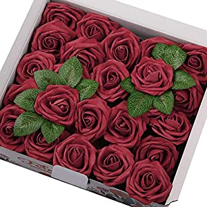 Febou Artificial Flowers, 50pcs Real Touch Artificial Foam Roses Decoration DIY for Wedding Bridesmaid Bridal Bouquets Centerpieces, Party, Home Decoration, Office Decor (Standard Type, Dark Red) 24