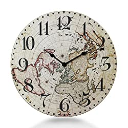 YHEGV Wall Clock in Retro Wood Silent Mode Table Suspended Modern Lounge Custom Creative Clock Watches Sharp Select Cargo (Color: Size: S, F)