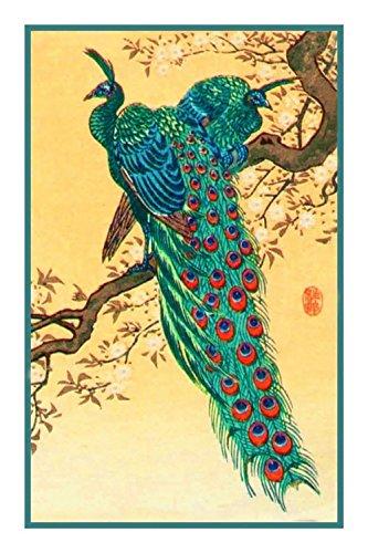 Orenco Originals Peacocks Birds by Japanese Ohara Shoson Counted Cross Stitch - Peacock Original