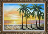 Framed Oil Painting 24''x36'' Beautiful Beach Palm Trees on Sunset Hawaii Seascape America Naturalism Ornate Frame