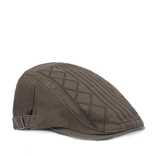 ZEVONDA Retro Stripe Caps - Cotton Adjustable Hat for Middle-Aged ... 3c5660836216