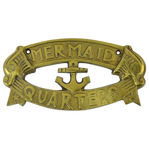 Solid brass ship plaque mermaid quarters nautical boat for Decor quarters