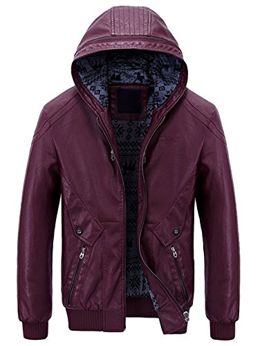Chouyatou Men's Stylish Hooded Zip-Front Fleece Lined Moto PU Leather Bomber Jackets (Large, Wine (Mens Zip Front Leather)