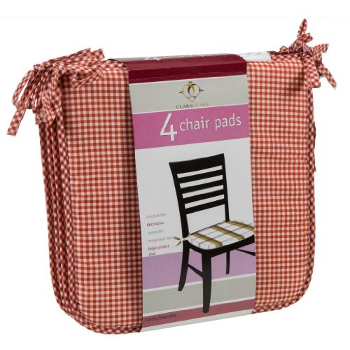 Clara Clark Chair Cushion Pads with Corner Ties, 4 pack, (Clarks Gingham)