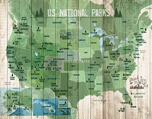 National Park Map USA, Canvas Push Pin Board 11X14 Inches, Ready to hang, 100 Pins included