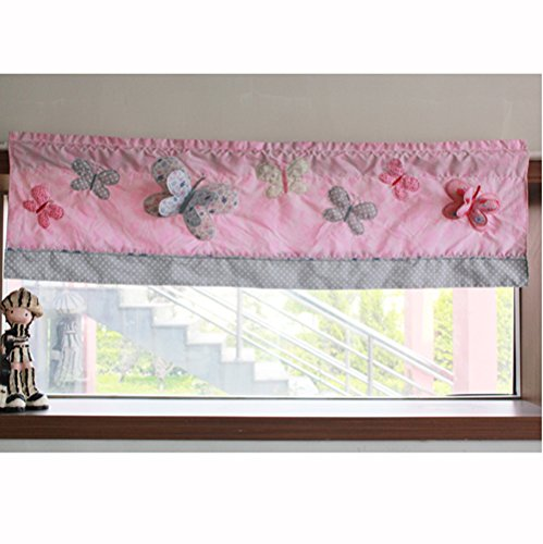 Baby Butterfly Window Valance - Cotton Butterfly Nursery Room Window Valance 3D Embroidery Butterfly Baby Room Curtain 1 PC 54 x 15 inches (Pink Butterfly Window Valance)