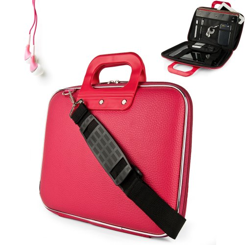 Uniquely designed SumacLife Brand Pink Ultra Durable Reinforced 12 Inch Cady Hard Shell Sports Bag for all models of the Samsung Chromebook 11.6 Inch (Samsung Series 5 550 Chromebook, Wifi, 3G, 11.6, XE303C12-A01US) + Earphones (Samsung Chromebook 550)