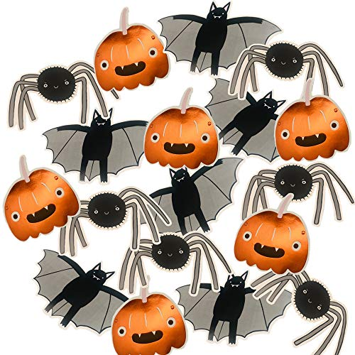 UNIQOOO 18Pcs Assorted Metallic Foil Halloween Kids Party Decoration, Multi-Use Paper Cutout Banners Pumpkins, Bats,Spiders, White Cardboard Back, Trick or Treat Wall Window Table Centerpieces Idea