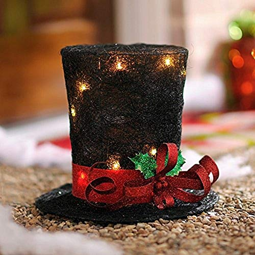 hm Unique Christmas Tree Topper Lighted Top Hat Snowman Reindeer Elf Head Top Hat New (Lighted Top Hat) ()