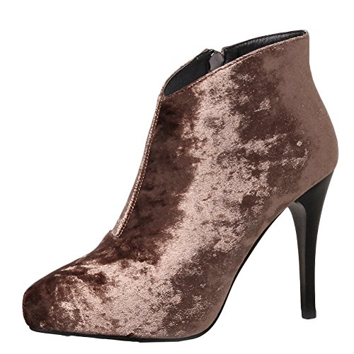 Women's Brown Manmade Heel Ankle Suede Boots Dress Latasa High d8Fqd4