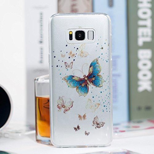 Samsung S8 Plus Funda, Galaxy S8 Plus TPU Case Cover, NEWSTARS Lujo Bling Bling Glamour Brillante Glitter Flamenco Unicornio Mariposa Flor Diseño Funda Carcasa Ultra Delgado Resistente a los Arañazos  B Glitter TPU 6