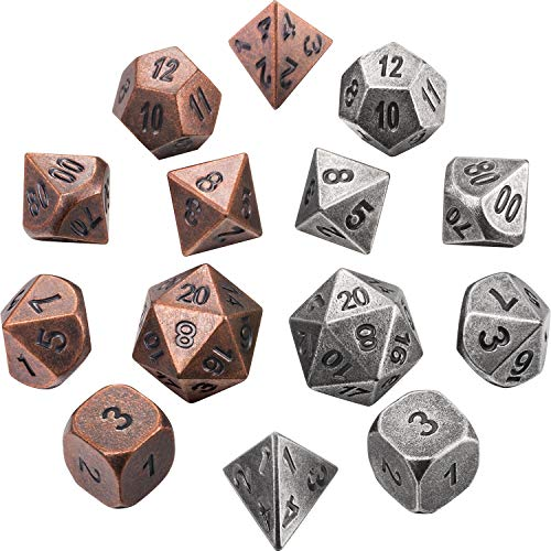 Jovitec 14 Pieces Metal Solid Zinc Alloy Game D&D Dices Set Durable Polyhedral Dice with Printed Numbers and Velvet Storage Bags for Game, Dungeons and Dragons, RPG, Math Teaching by Jovitec