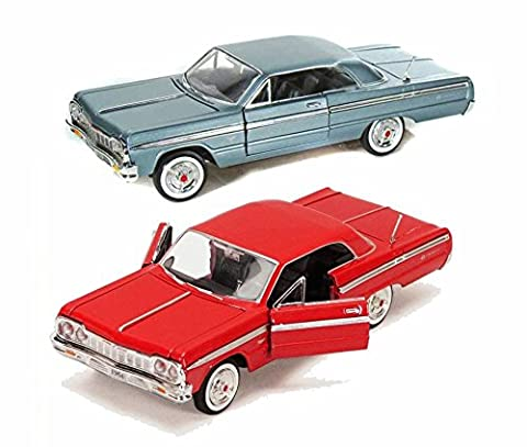 1964 Chevy Impala Two Color Bundle, Motor Max - Two 1/24 Scale Diecast Model Cars