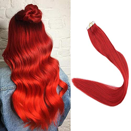 Full Shine Bright Red Tape In Hair Extensions Remy Human Hair 20 Inch Glue In Hair Extensions Color#Red 25G Dyed Long Straight Hair 24Inch White Invisible Tape On Skin Weft Hair