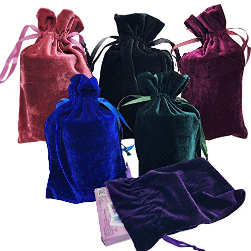 - GiftExpress Velvet Tarot Rune Bag Bundle of 6: Moss Green, Royal Blue, Purple, Wine, Ross, Black 6