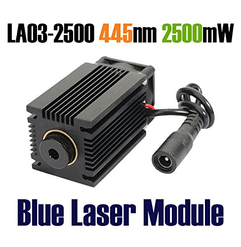 Qisc 445nm 2.5W 2500mW Blue Laser Module With Heatsink For DIY Laser Cutter Engraver by Qisc