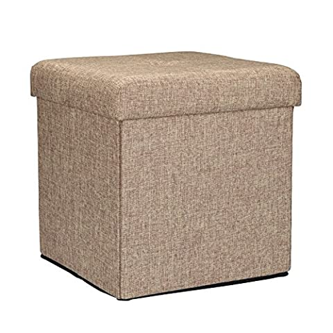Collapsible Storage Ottoman - Polyester Jute Series - Many Colors and Styles Available (Natural, 15