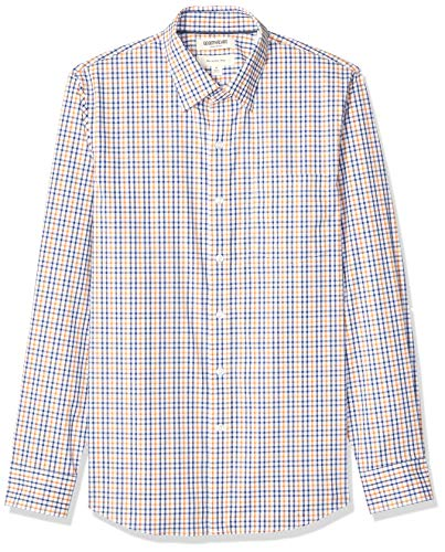Goodthreads Men's Slim-Fit Long-Sleeve Stretch Poplin (All Hours), Blue Yellow Multi Check, Large