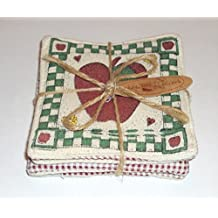 Cobble Creek Set of 4 Drink Quilted Fabric Coasters Farm Fresh Apple