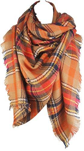 VIVIAN & VINCENT Women's Plaid Blanket Winter Scarf Warm Wrap Oversized Shawl Cape Orange (Thanksgiving Gift For)