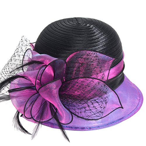 Fanny Cloche Oaks Church Dress Bowler Derby Wedding Hat Party S015 (Satin-Purple) Purple Satin Hat