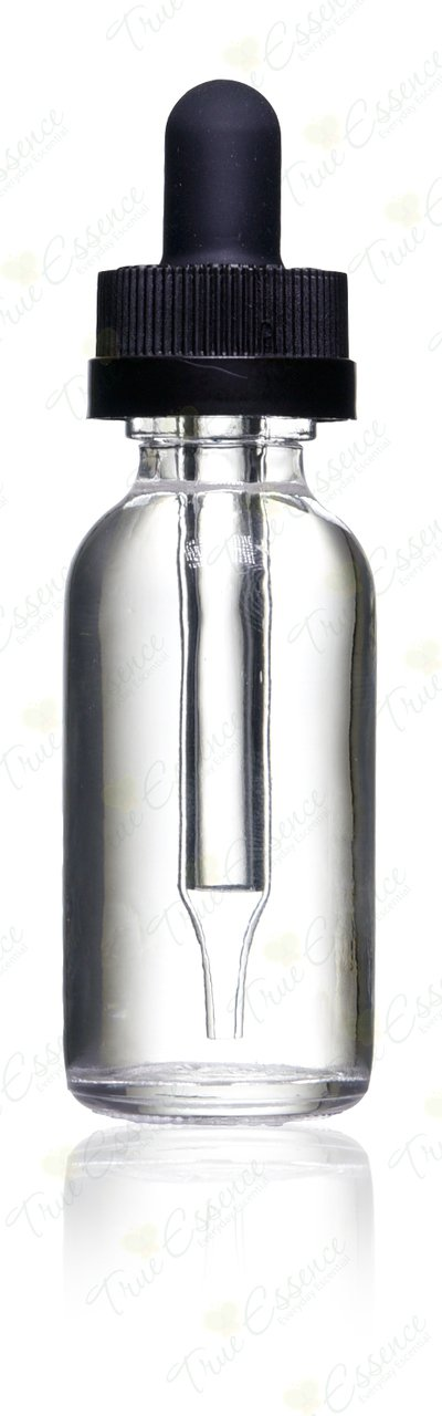 1 Oz (30 Ml) Clear Boston Round Glass Bottle w/ Child Resistant Glass Dropper - Pack of 12