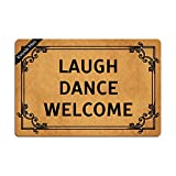 Ruiyida Laugh Dance Welcome Doormat Custom Home Living Decor Housewares Rugs And Mats State Indoor Gift Ideas 23.6 By 15.7 Inch Machine Washable Fabric Top