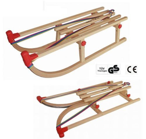 Faltbarer Rodel-Schlitten Davoser Art aus stabilem Buchenholz, 90 cm, bis 90 kg - TÜV GS, Top Verarbeitung