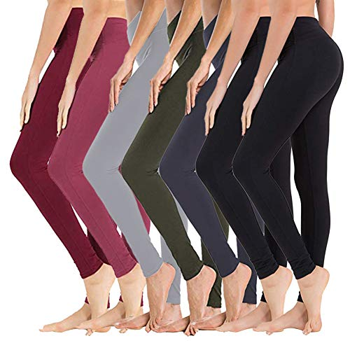 High Waisted Leggings for Women - Opaque Slim Tummy Control Pants for Yoga Workout Running (7 Pack Black x 2/Navy Blue/Olive/Light Grey/Wine/Rose Pink, Plus Size (US 12-24))