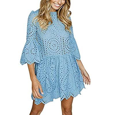 Hatoys Womens Flowers Lace Short Sleeve Party Dress