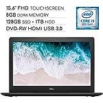 Dell Inspiron 15 5000 Laptop Computer 2019, 15.6 inch FHD Touchscreen Notebook, Intel Core i3-8130U 2.2Ghz, 8GB DDR4 RAM, 128GB SSD + 1TB HDD, DVD-RW, Backlit Keyboard, Wi-Fi, Webcam, Windows 10 5