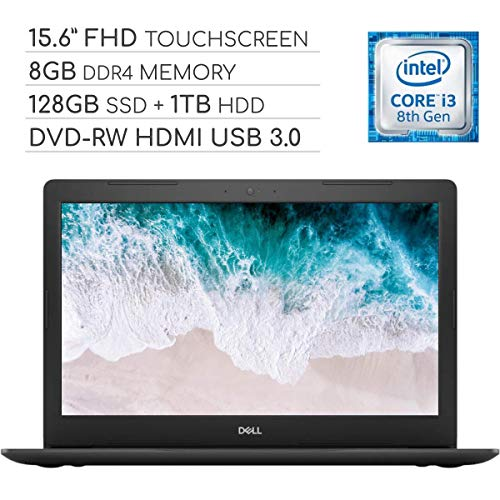 Dell Inspiron 15 5000 Laptop Computer 2019, 15.6 inch FHD Touchscreen Notebook, Intel Core i3-8130U 2.2Ghz, 8GB DDR4 RAM, 128GB SSD + 1TB HDD, DVD-RW, Backlit Keyboard, Wi-Fi, Webcam, Windows 10