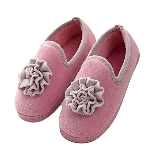 Btrada Winter Mujeres Warm Flowers Pantuflas De Algodón Lady Moccasin Pantuflas Soft Antiskid Houseable Slipper Pink