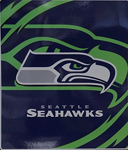 NFL Licensed Seattle Seahawks Royal Plush Raschel Queen Size Blanket by Northwest (Raschel Queen Plush Blanket)