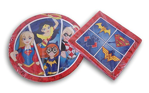 Justice League Girls Party Supply Kit - Dinner Plates and Napkins -