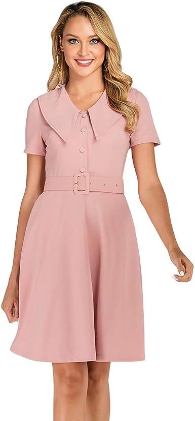 Wellwits Vestido de Dama de Honor Vintage con Cuello de Camisa Grande exagerado para Mujer: Amazon.es: Ropa y accesorios