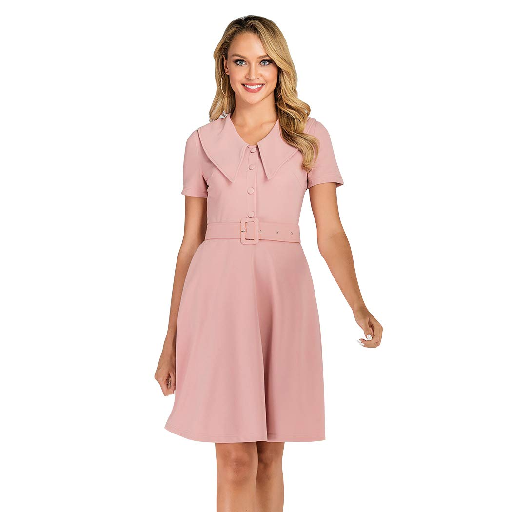 500 Vintage Style Dresses for Sale | Vintage Inspired Dresses Wellwits Womens Button up Shirt Collar Vintage Career Dress with Pocket $21.98 AT vintagedancer.com
