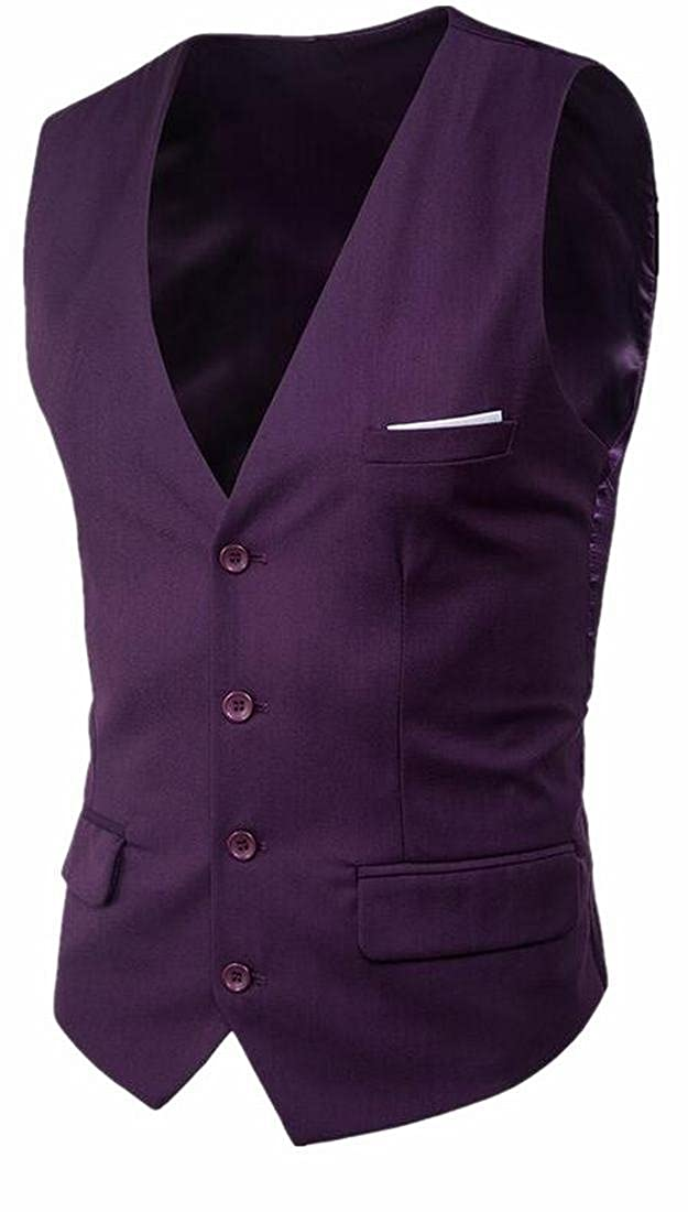 ONTBYB Mens Slim Fit Buttons Sleeveless Formal Business Suit Vest